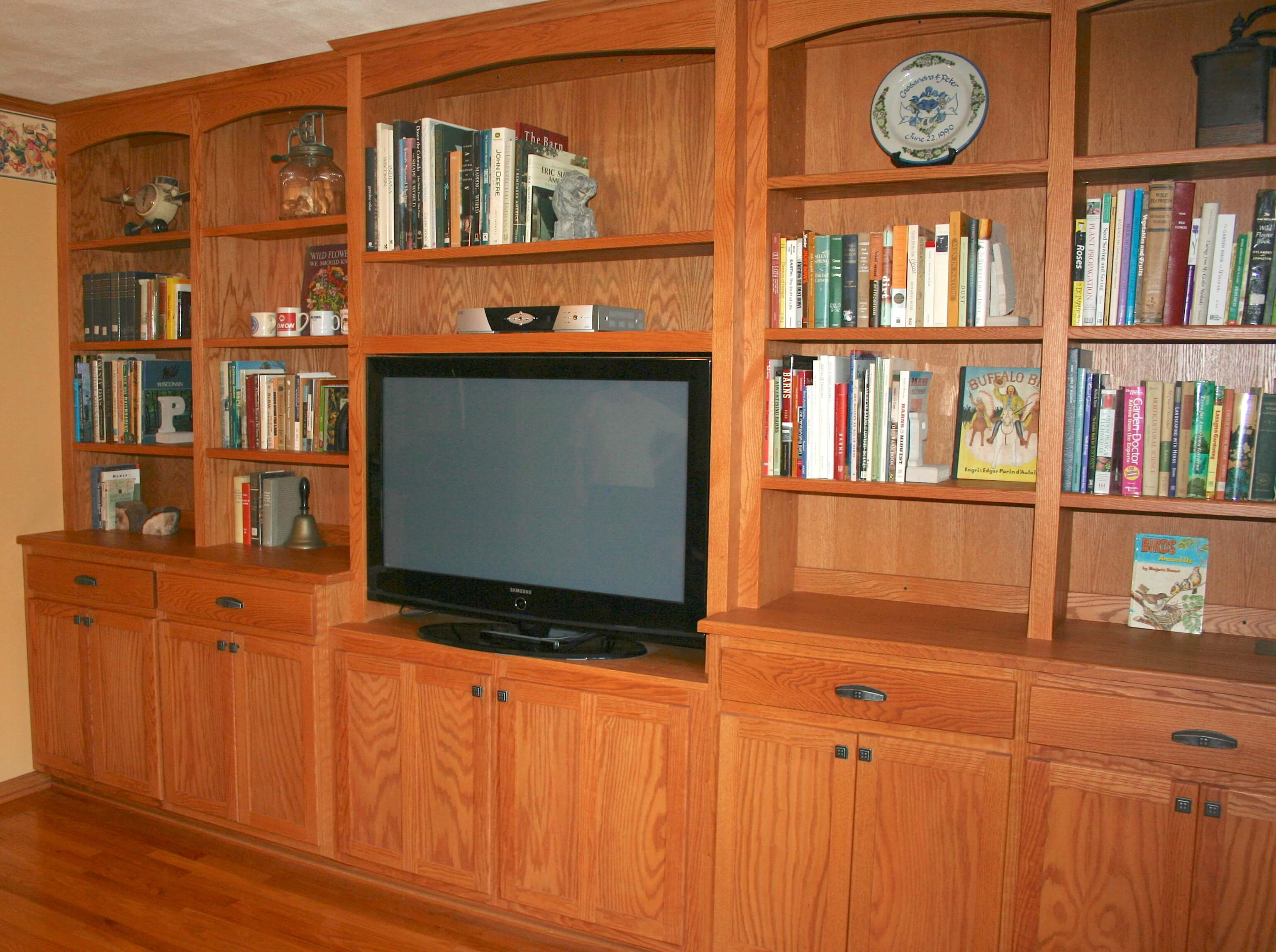 living room cabinet with bookshelf and TV